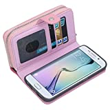 Dreams Mall(TM)New Arrival 2 in 1 Premium PU Leather Wallet Purse Case Protection for Samsung Galaxy S6 Edge with Stand Flip Cover and Strap-Pink