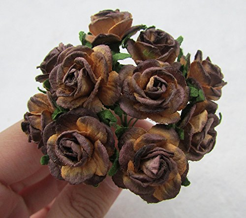 50 pcs Brown Rose 20mm Pink Mulberry Paper Flowers handmade craft project cardmaking Floral Valentine