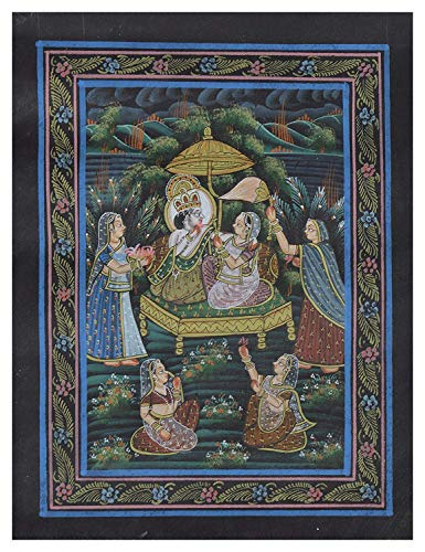 (Unique Indian Crafts Bride and Groom Handmade Painting (Fabric)(10.6 x 13.6 inch))