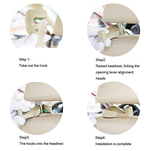 1bb72b966 DNJ Home Car Headrest Hanger, Car Vehicle Back Seat Headrest Organizer,  Holder for Bag