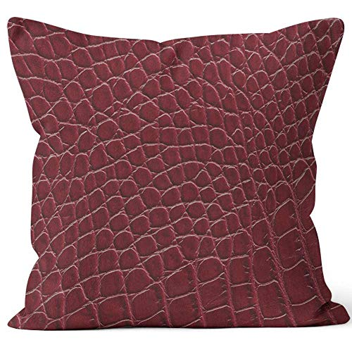 Nine City Red Leather Throw Pillow Cushion Cover,HD Printing Decorative Square Accent Pillow Case,40