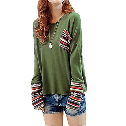 Sinma Womens Long Sleeve Shirt Round Neck Tops Loose Splicing Blouse (M, Green) (No Hassle Linen Shirt Jacket)