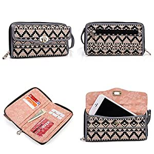 Smartphone Wristlet Wallet Blu Studio 5.0 C Mini | All In One - Crossbody Shoulder Chain Included | Tan Black White Aztec Tribal Pattern