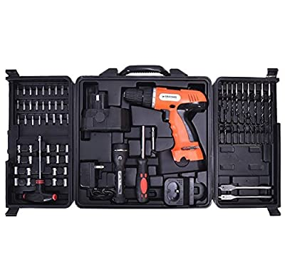 78 PCS 18 Volt 110V Cordless Drill Set Construction Work Screwdriver Ratchet Lever Flashlight T Screw Arbor Socket Wrench Spade Drill With Carry Case, Cordless Electric Power Source
