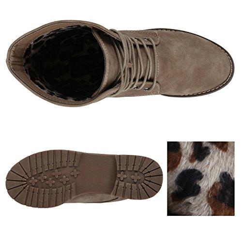 Stiefelparadies Damen Stiefeletten Zipper Leicht Gefütterte Stiefel Schnürstiefeletten Wildleder-Optik Damenschuhe Übergrößen Modische Boots Flandell Khaki Matt