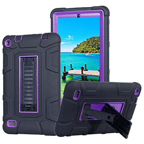 Fire 7 2015 Case,ARMORCOO(TM) High Impact Resistant Dual Layer Hybrid Defender Shockproof with Kickstand Armor Cover for Amazon Fire 7 Inch Tablet (5th Gen,2015 Release) (Purple/Black) - Slicone Skin