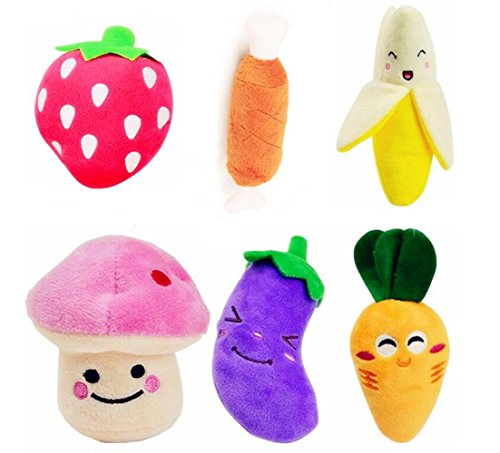 Small Dog Toys Squeaky Dog Toys Pets Squeaky Toy, Emwel 6 PCs Plush Puppy Toys for Small Medium Dogs