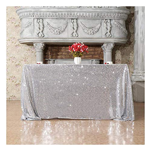 Poise3EHome 50x50 Square Sequin Tablecloth for Party Cake Dessert Table Exhibition Events, Silvery