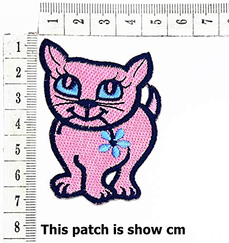 Pink cat with Blue Flower Patch Cat Cartoon Chidren Kids Embroidren Iron Patch/Logo Sew On Patch Clothes Bag T-Shirt Jeans Biker Badge Applique