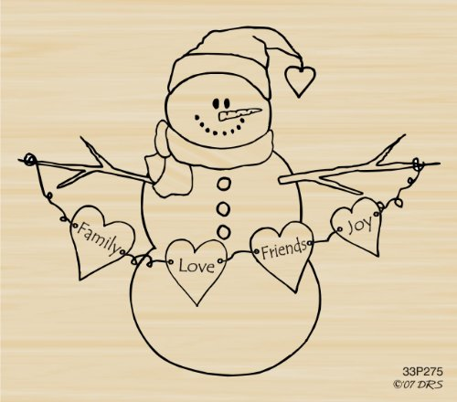 - Heart Swag Snowman Rubber Stamp By DRS Designs