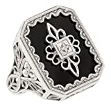 Art Deco Style Filigree Black Onyx and Diamond Ring in Sterling Silver (sz 7)