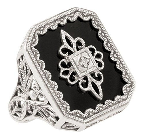 (Art Deco Style Filigree Black Onyx and Diamond Ring in Sterling Silver (sz 8.5))