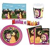 Kit complet Masha et l'ours Michka décoration fête anniversaire pour 8 enfants (Assiettes, serviettes, gobelets et nappe)