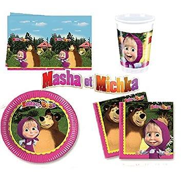 Set de Cumpleaños Completa Masha y el Oso Michka 8 niños (8 ...