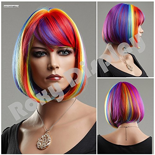 (WG-ZL1028-RAINBOW) ROXYDISPLAY™ Short Hair Wig. Mix color.