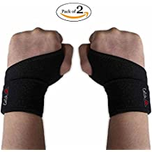 Wrist Wraps Brace Support for women and men neoprene adjustable for right and left hand with thumb stabilizer - 2 pack and drawstring bag for yoga weightlifting gymnastics bowling typing carpal tunnel