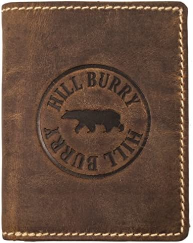 Hill Burry Cartera de Cuero para Hombre | Billetera - Monedero de Cuero Genuino con un Aspecto Vintage | Hombres - Mujeres Bolsillo Vertical | RFID ...