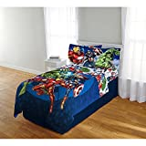 Ln 3 Piece Kids Red Yellow Avengers Sheet Set Twin, Blue Green Thor Captain America Bedding Hulk Ironman Superheroes Bed Sheets Circle Soft Cozy Comfortable Modern Trendy Stylish, Polyester