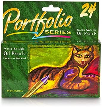 Crayola Portfolio Series Water Soluble Oil Pastels, 24 Brilliant Opaque Colors Tapered Point, Blendable Texture, Use for Wet or Dry Artworks, Great for Art Classes