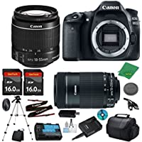 Canon EOS 80D Camera with 18-55mm IS STM Lens + 55-250mm STM + 2pcs 16GB Memory Card + Camera Case + Memory Reader + Tripod + 6pc Starter Set - International Version