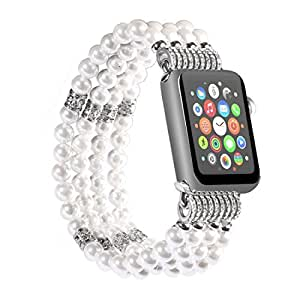TRANSHARE Handmade Beaded Faux Pearl Elastic Replacement Band with Metal Adapter Clasp for Apple Watch Series 3, Series 2, Series 1, Sport, Edtion (White - 38mm)
