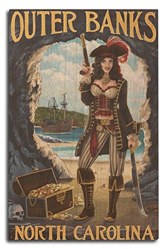 (Lantern Press Outer Banks, North Carolina - Pirate Pinup Girl (10x15 Wood Wall Sign, Wall Decor Ready to Hang))