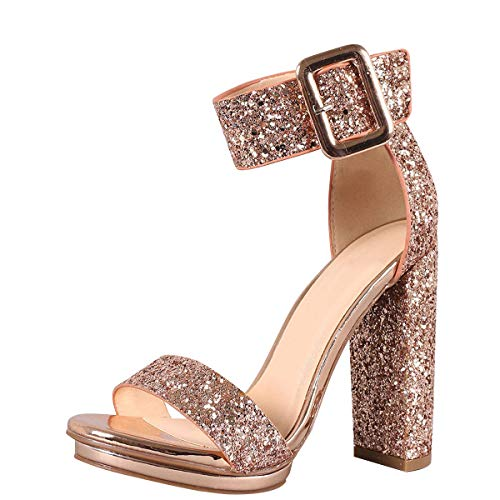 Love Mark Womens Open Toe Buckle Ankle Strap Cuff Platform Chunky Heel Pump Sandal 7 Rose Gold Glitter (Ankle Cuff Sandal)