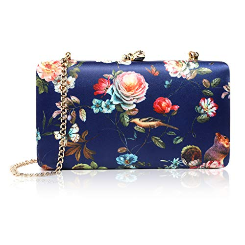 two the nines Women's Floral Print Satin Evening Bag Clutches Thin Chain Hardcase Purses,Navy