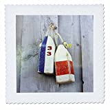 3D Rose Image of Old Lobster Buoys on Gray Wood Quilt Square 12 by 12 inch, 12 x 12