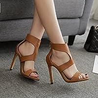 Las elegantes sandalias de tacón alto de rosca expuesta romana sexy zapatos y sandalias de tacón alto y elegante