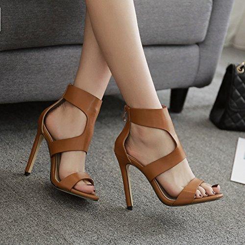 Fuxitoggo Aushöhlen Peep Pumps Frauen Peep Aushöhlen Toe High Heel Reißverschluss Sexy Schuhe (Farbe   Braun, Größe   EU 36) 1f1161