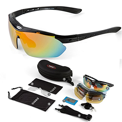 GIORO Polarized Sports Sunglasses with 5 Interchangeable Lenses UV400 Protection Glasses for Baseball Cycling Running Fishing Driving Golf (Black)