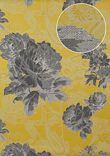 Flowers wallcovering Wall Atlas TEM-5109-7 Non-Woven Wallpaper Textured with Paisley Pattern Shimmering Yellow Dark-Grey Grey-White Platinum 7.035 m2 (75 -