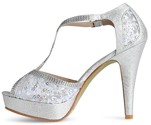 Women's Rhinestones Open Silver Pump Toe High Crochet Heel LUSTHAVE Lace Crystal Sandals Platform Dress dnxaWzROw