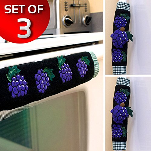 Grape Handle (Set Of 3 Kitchen Appliance Handle Covers W/ Grape Design)