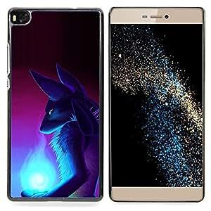 "Qstar Arte & diseño plástico duro Fundas Cover Cubre Hard Case Cover para Huawei Ascend P8 (Not for P8 Lite) (Arte Fox Wizzard Antiguo Egipto Diosa"")"