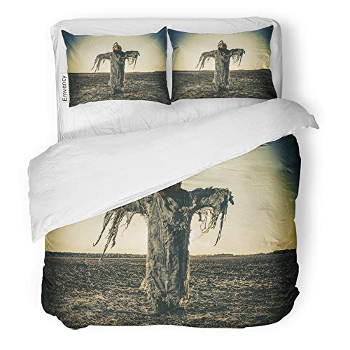 Emvency 3 Piece Duvet Cover Set Brushed Microfiber Fabric Breathable Halloween Legend Portrait of Jack Lantern Pumpkin on His Head Standing in The Bedding Set with 2 Pillow Covers King -