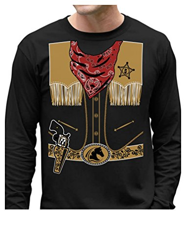 TeeStars - Cowboy Halloween Easy Costume Outfit Long Sleeve T-Shirt Large (Cowboy Outfits For Men)