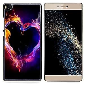 GIFT CHOICE / Teléfono Estuche protector Duro Cáscara Funda Cubierta Caso / Hard Case for Huawei Ascend P8 (Not for P8 Lite) // Neon Flames Black Passion Love //