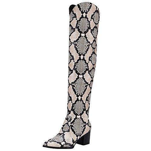 Carolbar Donna Scarpe A Punta In Pelle Di Serpente Stampate Stivali Di Pelle Stampata Pitone