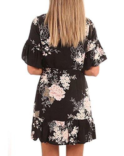 Abbigliamento Vita Disegno Casual Stampa Nero Falbala Cravatta Elegante Cintura donne Coolred Ow8Aq