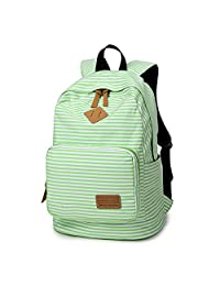 Artone Stripe School Bag Daypack Casual Backpack With Laptop Compartment White Green