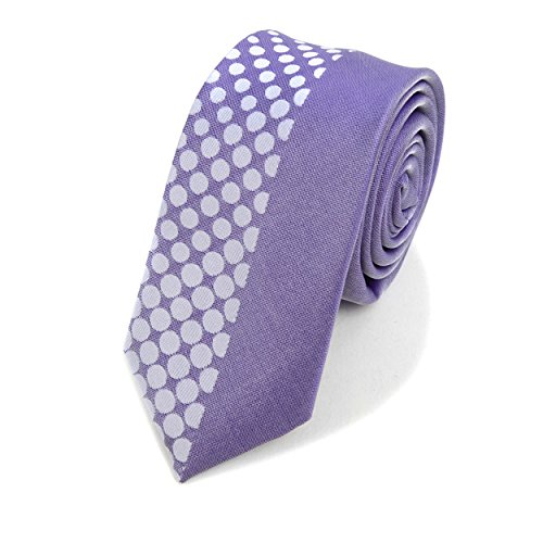 Half Dotted Slim Panel Microfiber Poly Woven Tie