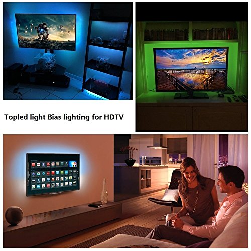 LED TV Backlight Kit, Topled Light® 4x1.64ft Bias Lighting RGB Color Changing with 44Keys Remote + Power Adapter LED Strip Backlight Kit for HDTV Flat Screen LCD, Desktop PC(Backlight Kit)) by Topled Light (Image #4)