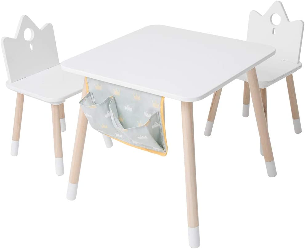 Kids wood Play Around Activity Table and Chair Set, White Toddler Table for 1-5 Years, 3-Piece Set Desk with Storage Bag Modern Kid Furniture,Kid Desk Chair/Child Learning table/Room Table/Study Desk
