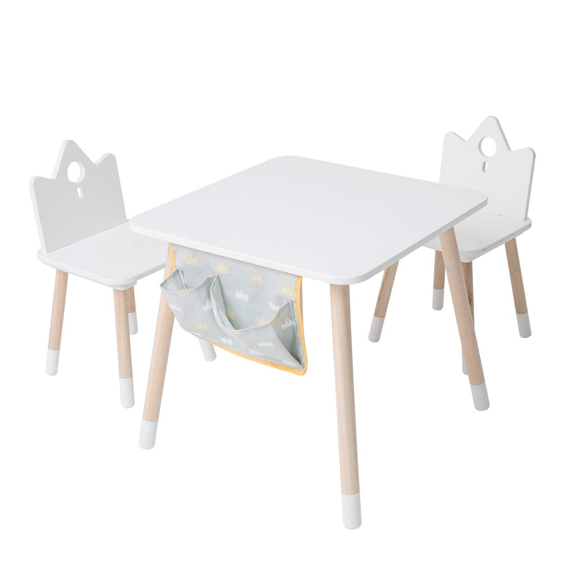 Kids wood Play Around Activity Table and Chair Set, White Toddler Table for 1-5 Years, 3-Piece Set Desk with Storage Bag Modern Kid Furniture,Kid Desk Chair/Child Learning table/Room Table/Study Desk by JOLIE VALLÉE TOYS & HOME