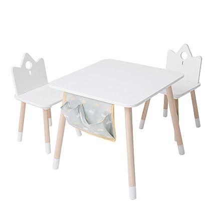 Meubles Bois, Table Enfants et chaise ou Bureau Fille - Blanc la couronne  impériale pour 1-7 ans Bébé, Filles et Garçons, Meuble Enfant/Petit Bureau  ...