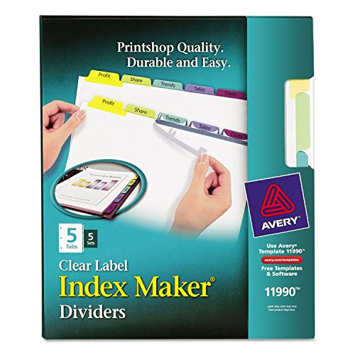 Avery Dennison Index Maker (AVERY-DENNISON 11990 Index Maker Clear Label Contemporary Color Dividers, 5-Tab, 5 Sets/Pack)