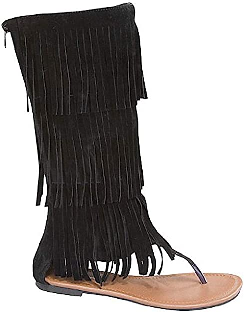 Black New Womens Black Fringe Gladiator Knee High Tall Sandals No Heel