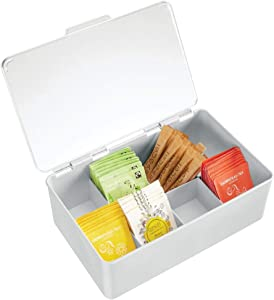mDesign Stackable Plastic Tea Bag Holder Storage Bin Box for Kitchen Cabinets, Countertops, Pantry - Organizer Holds Beverage Bags, Cups, Pods, Packets, Condiment Accessories - Light Gray/Clear